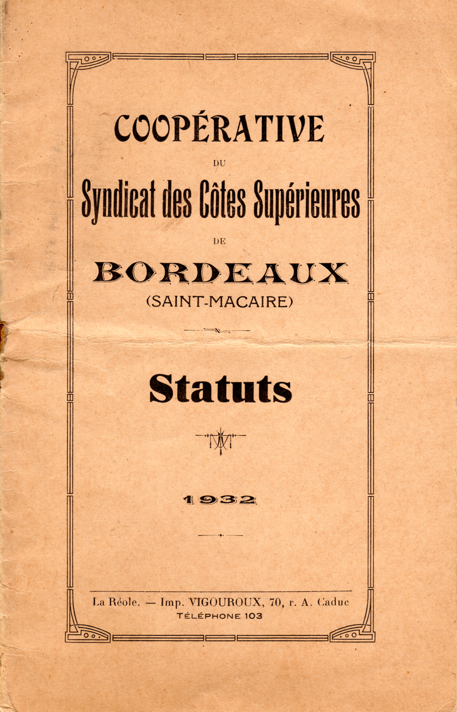 Statuts Coopérative St Macaire 01